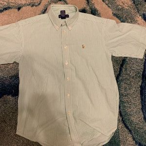 Boys Green Seersucker Ralph Lauren Button Down